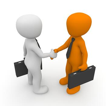 Two Digitally Animated People Shaking Hands