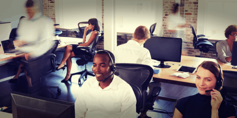 people working in a call center office space