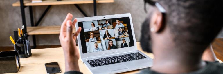 Man Using Sangoma Video Conferencing Software