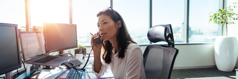 Office worker using IP Phone