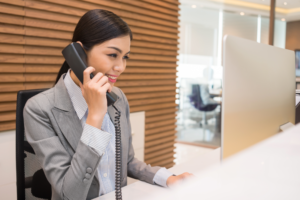 Business Person using Sangoma VoIP solution