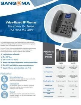 Value Based IP Phones - P310 / P315 Datasheet