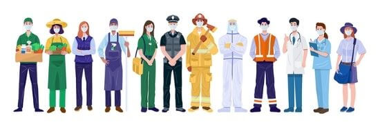 A group of essential workers standing in a line - Food delivery, farming, store clerk, custodian mobile doctor, police officer, fire fighter, hazmat specialist, construction worker, surgeon, nurse, mail carrier