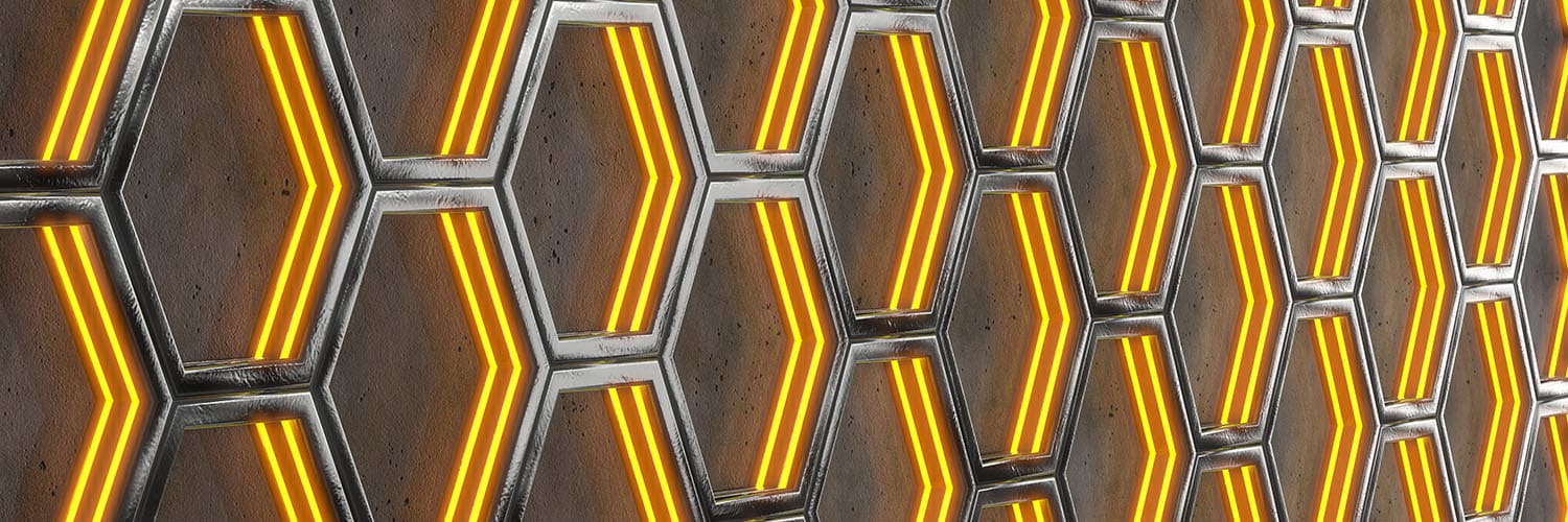 Glowing Hexagonal Cells on a Gray Background