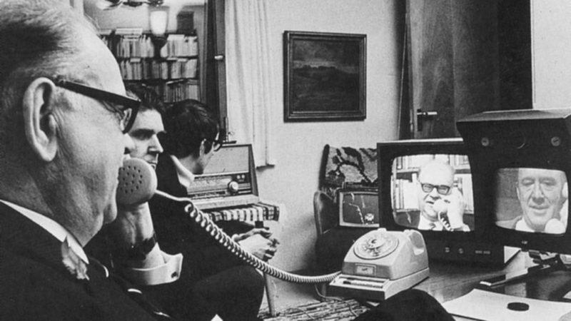 Swedish Prime Minister Tage Erlander uses an Ericsson video to speak with Lennart Hyland